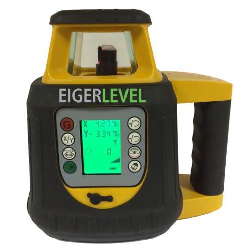 Rotations Laser, EIGERLEVEL, GREEN, H + V Selbstnivellierend, dig. Neigung +-10% / Achse, inkl. Empfänger, LCD-Fernb., Ladegerät