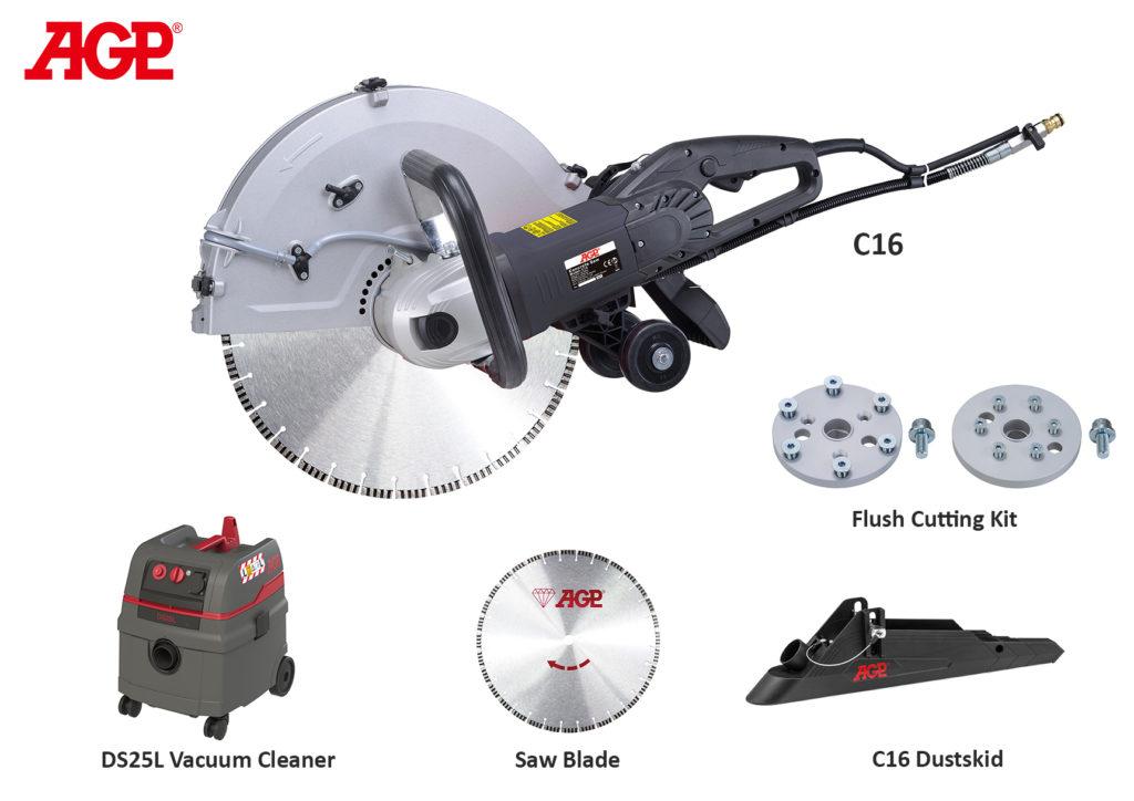Dia - Handsäge AGP C16 / 230V/3200W / Ø400mm / S-Tiefe 150mm / Gewicht: 9.6kg / Trocken/Nass / Bündigschnitt möglich