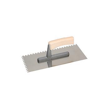 Glättekelle, Zahnung 6x6 mm, Edelstahl INOX, Glatt, 130x270 mm, Steg GFK, Holzgriff, VPE 10 Stk.