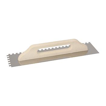 Traufel, Zahnung 4x4 mm, Edelstahl INOX, glatt, 130x480 mm, Holzkompositgriff, VPE 10 Stk.
