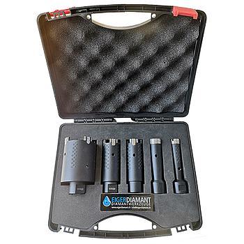 Dia-Trockenbohrkronen-SET, Granit Black Drill Premium, Ø20, Ø27, Ø35, Ø40, Ø65, im Koffer